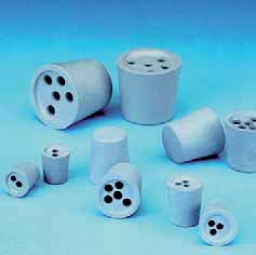 Drilled Rubber Stoppers, Grey-Blue, 54D