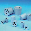 Drilled Rubber Stoppers, Grey-Blue, 13D